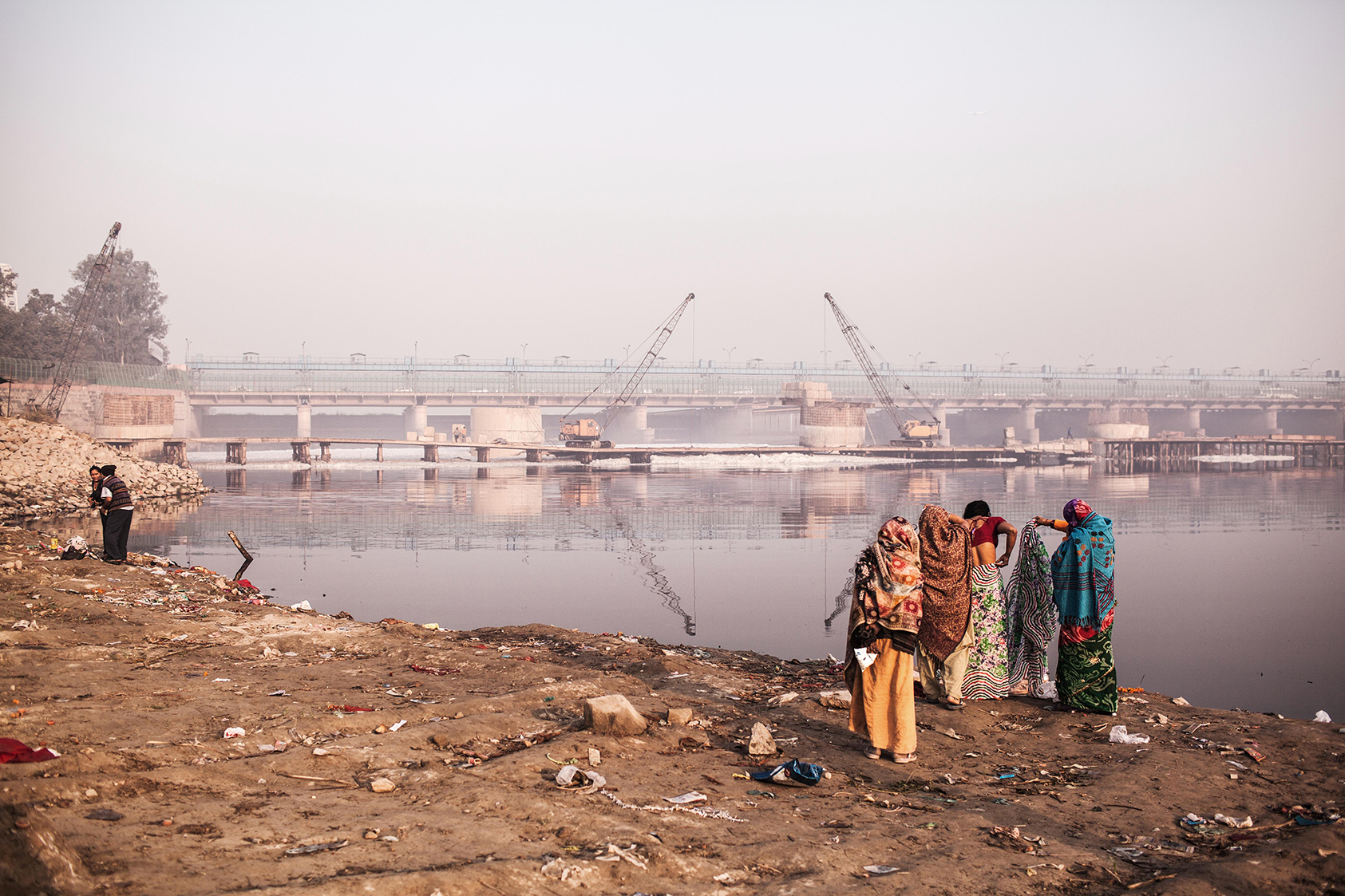 Hindus traditionally bath rivers to offer their prayers as part of many ceremonies